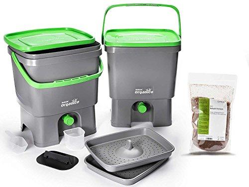 Skaza Bokashi Organko Set (2 x 16 L) Compostador 2X de Jardín y Cocina de Plástico Reciclado | Starter Set con EM Bokashi Polvo 1 Kg. (Gris-Verde)