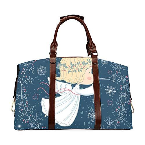 Grande borsone da viaggio Tromba di angelo di Natale Borse da donna casual in pelle PU impermeabile oversize classica
