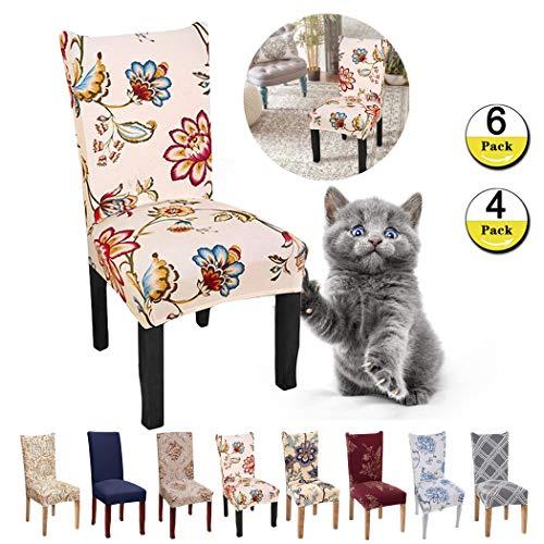JunYito Stuhlhussen 4er 6er Elastische Set Stuhlhussen Universal Stretchhusse Stuhlbezug Stretch für Stuhl Esszimmer (P-Gelb/Begonie, 4 Stücke)
