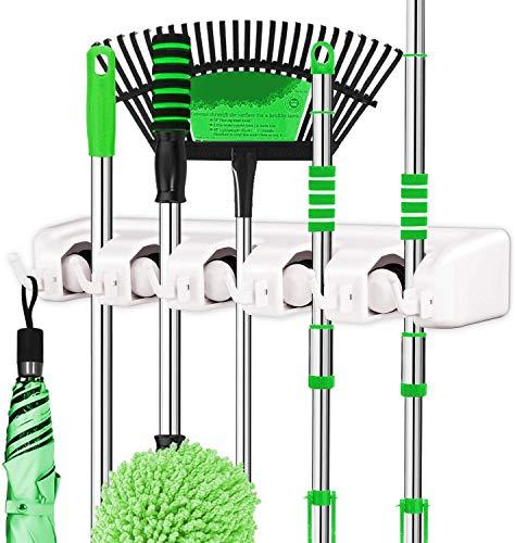 LETMY 2 Pack Broom Holder Wall Mounted - Mop and Broom Holder - Garage Storage Rack&Garden Tool Organizer - 5 Position 6 Hooks for Home, Kitchen, Garden, Tools, Garage Organizing (White)