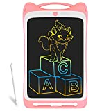 Richgv 12 Pulgadas Tablets de Escritura LCD, Función de Bloqueo, Pizarra de Color, Pizarra de Dibujo Portátil, en Lugar de Papel, Adecuada para Niños y Adultos (Gato,Rosa)