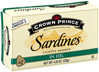Crown Prince Sardines in Oil, 4.25-Ounce Cans (Pack of 12)