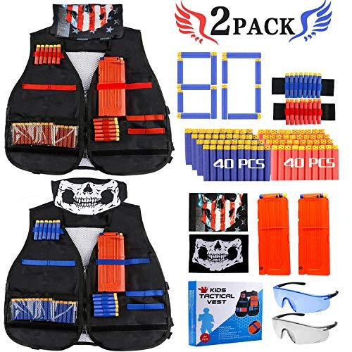 Gafild Taktische Weste Kit, 2er Kinder Taktische Weste Jacke für N-Strike, Nerf Zubehör mit 80 Darts Nachfüllpack, 2 Clip für 12 Darts, 4 Armbände für 8 Darts, 2 Gesichtsmaske und 2 Nerf Brille.