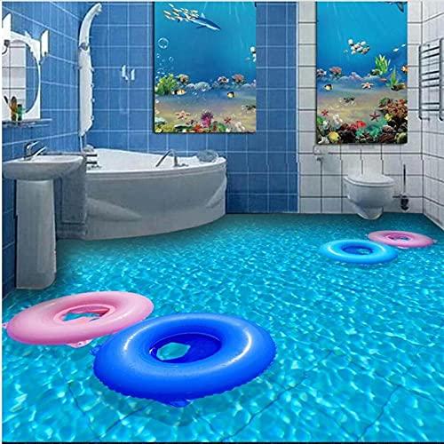 Baño Creativo Personalizado Inodoro Wei Azul Mar Piscina 3D Piso Pintura Decorativa Tridimensional Antideslizante Autoadhesivo-400X320Cm Adhesivos Para Azulejos De Pared, Para Decoración Del Hogar,