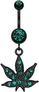 Blackline Cannabis Leaf Sparkle WildKlass Belly Button Ring