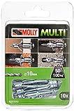 Molly M101010-XJ Molly Multi Chevilles métal avec vis agglo, Gris, Set de 10 Pièces