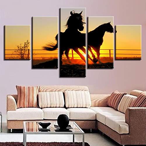 JYXJJKK 5 pintura de la lona del papel pintado 200 * 100 CM solo lienzo Animal caballo anochecer paisaje Se utiliza para la decoración de la sala de estar del dormitorio club de cambio de imagen para