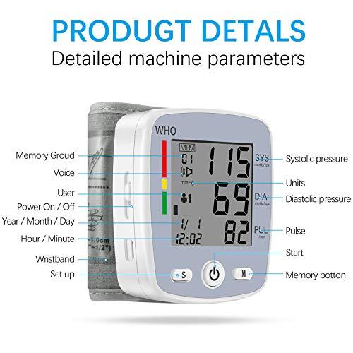 51RiGoIcZJL - U-Kiss Tensiómetro de muñeca, monitor de presión sanguínea para el hogar o portátil (Gris)