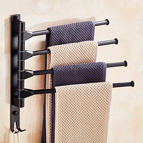 BJLWTQ Barra de toalla, Hermosa barra de toalla nórdica toalla rack Negro Libre de perforación aluminio del espacio de la barra de toalla puede girarse de cuatro capas de baño con el gancho de almacen
