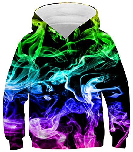 Flaming Fire Hoodies for Boys Novelty Psychedelic Teal Blue Rose Smoke Pullover Sweater Size 8 9 10 11 12 Kids Fun Soft Lightweight School Hoodys Sweatshirt Girls Flame Graphics Tops Comfy Jersey Coat
