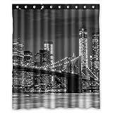 FMSHPON NYC Brooklyn Bridge New York Cityscape Manhattan Skyline Night Waterproof Fabric Bathroom Shower Curtain Size 60x72 inches