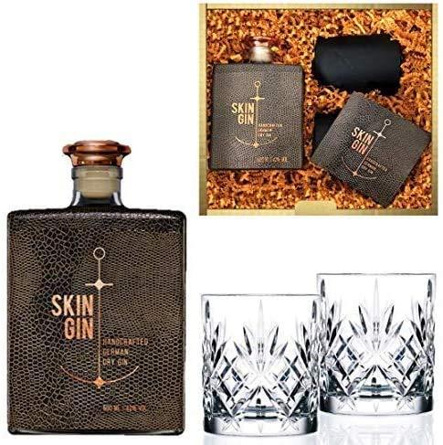 Geschenkset Skin Gin im Reptile Brown Design inkl. 2 geschliffener Tumbler-Gläser   42% Vol. (0.5 l)