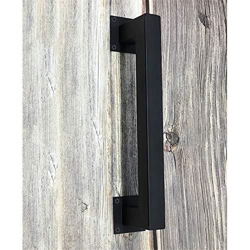 Vintage metalen deurgreep, 1 x schroef gemonteerd, zwart ijzer, duwstang, stootgreep, buggreep, handvat voor deuren, garages, schuur, houten deuren, ladekast, handgreep