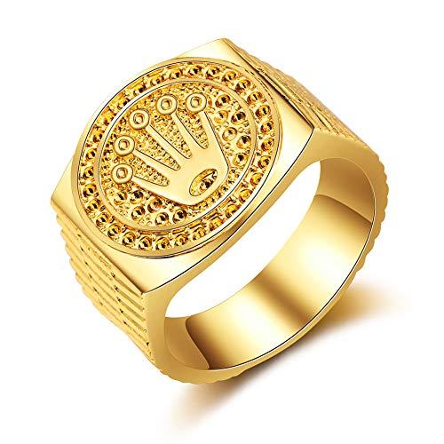 Wahyou Hip Hop Rock Ringe 18K Gold Vergoldung Krone Ringe für Herren Damen Verlobung Hochzeit Party Schmuck für Freundschaft Schmuckzubehör Geburtstag (Gold, 57 (18.1))