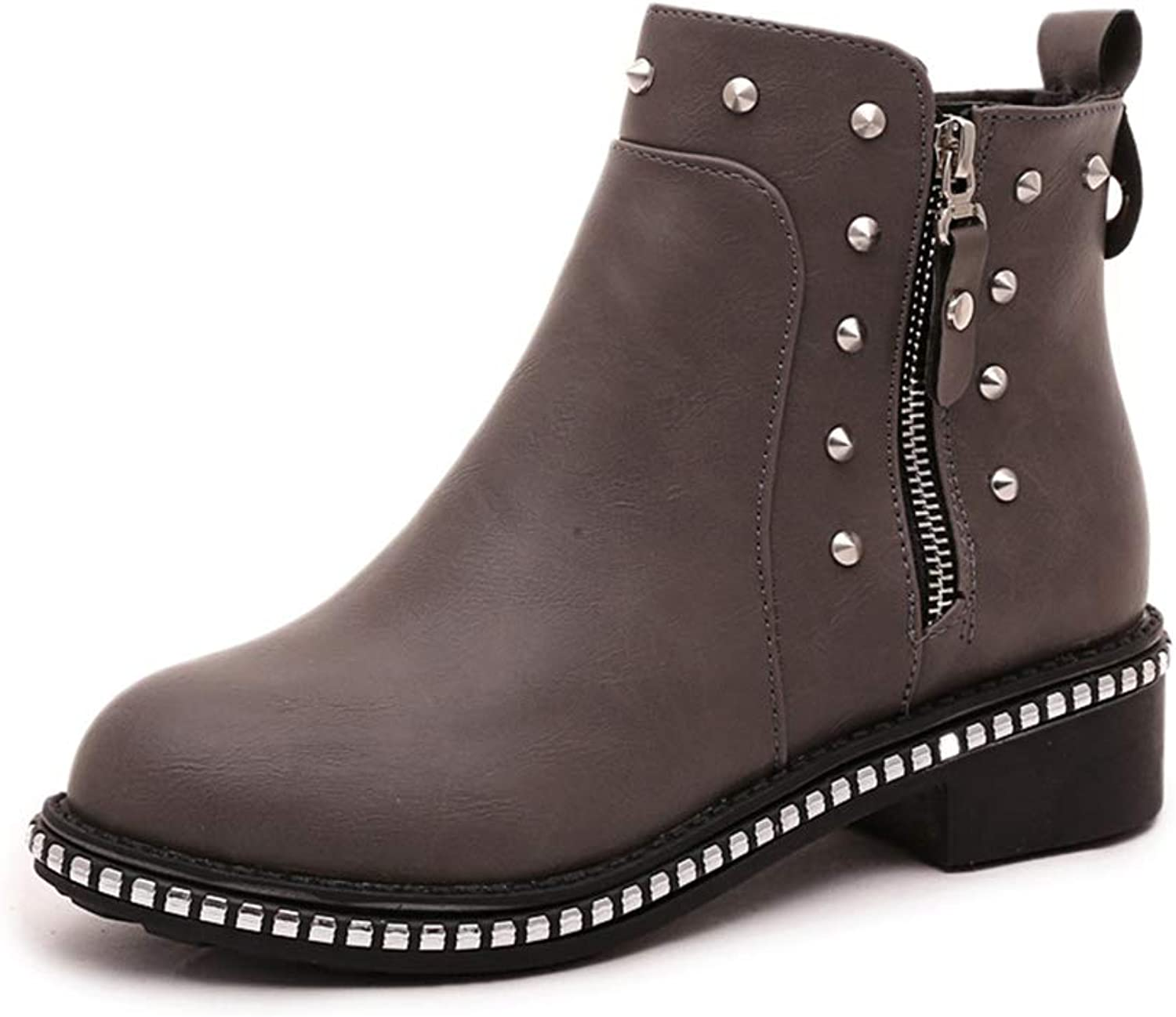 A-LING Women's Side Zipper Round Head Martin Boots Low Tube shoes