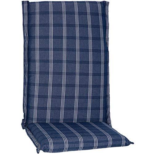 Beo Hochlehner Auflagen Waschbar Ascot | Made in EU Premium Plus Qualität | UV-beständige Gartenstuhlauflagen Hochlehner mit Reißverschluss | Atmungsaktive Stuhlauflagen Hochlehner in Blau Kariert