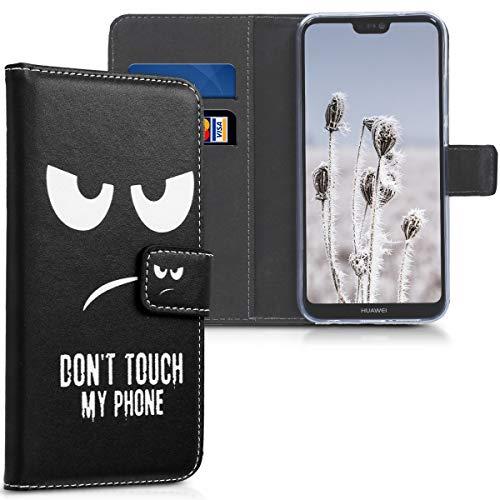 kwmobile Wallet Case kompatibel mit Huawei P20 Lite - Hülle Kunstleder mit Kartenfächern Stand Don't Touch My Phone Weiß Schwarz