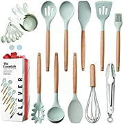 Kitchen Utensils Set - 20 Silicone Cooking Utensils Set Non-stick Cookware. Wood Kitchen Utensils. Silicone Spatula Wooden Spoons Set Tongs. Best Chef Kitchen Gadgets Tool Set Gifts - ÉLEVER