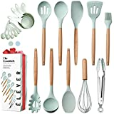 Kitchen Utensils Set - 20 Silicone Cooking Utensils for Non-stick Cookware. Wood Kitchen Utensils....