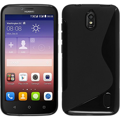 PhoneNatic Huawei Y625 schwarz Silikon Hülle S-Style mit 2 Schutzfolien