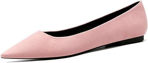 Summer Damenschuhe Elegante Flache Schuhe Aus Echtem Leder Rosa Spitze-Kopf