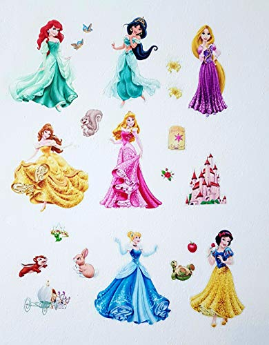 Kibi Princesas Disney Pegatinas De Pared Disney Stickers Infantiles Pared Princesas Casa De Pared Etiquetas De La Pared Niños Dormitorio Bebe, Artes Decorativas Wall Stickers 30 (W) x 90 (H) C