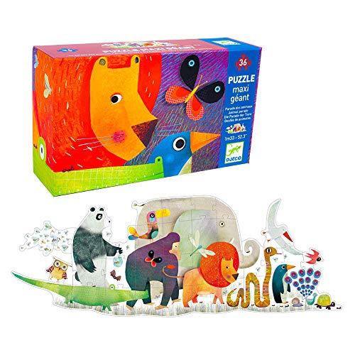 Djeco Parade Puzzle Gigante Desfile Animal de 36 Piezas en Colores, Multicolor (DJ07171)