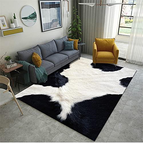 Alfombra Dormitorio,Alfombra Blanca y Negra, Elementos Animales Panda PATTEL Modelo ,alfonbras de Salon Baratas -Blanco_140x200cm