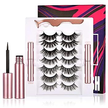 Magnetic Eyelashes With Magnetic Eyeliner,2021 Upgraded Reusable 3D Magnetic Eyelashes And Eyeliner Kit,Fluffy Eyelashes Magnetic with 2 eyeliner,magnético pestaña,No Glue Needed.