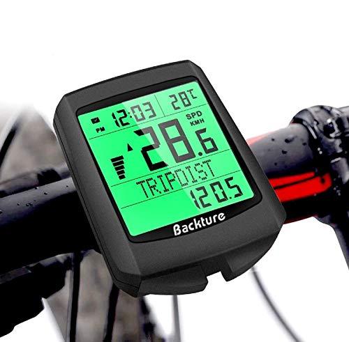 BACKTURE Computer da Bicicletta, 5 Lingue Contachilometri Bici, Tachimetro per Bicicletta Senza Fili Impermeabile LCD Retroilluminato Tachimetro in Bicicletta per Distanza di Tracciamento velocità