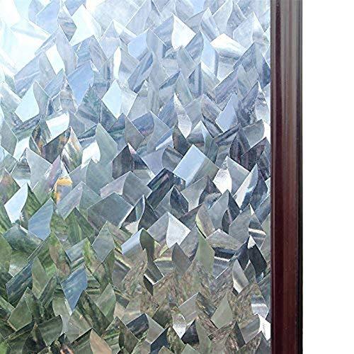 Película decorativa para ventana 3D de cristal decorativo para ventana de cristal, adhesivo extraíble, adhesivo autoadhesivo, papel de vinilo para ventana, cocina, baño, hogar (color: 45 x 100 cm)