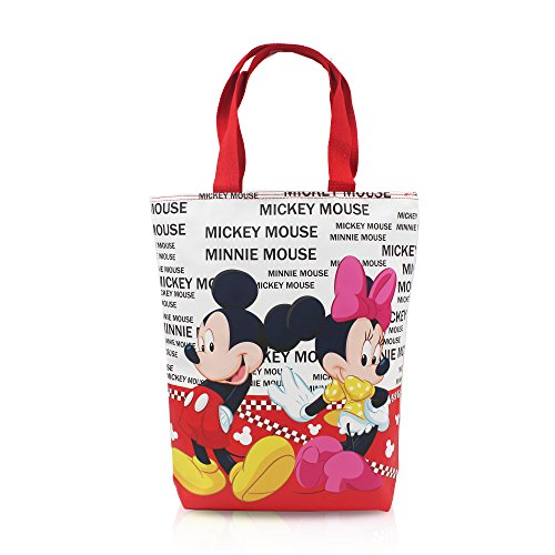 Finex Mickey Mouse and Minnie Mouse Reusable Multipurpose Grocery Tote bag large hand carry bag with zipper for women girls kids