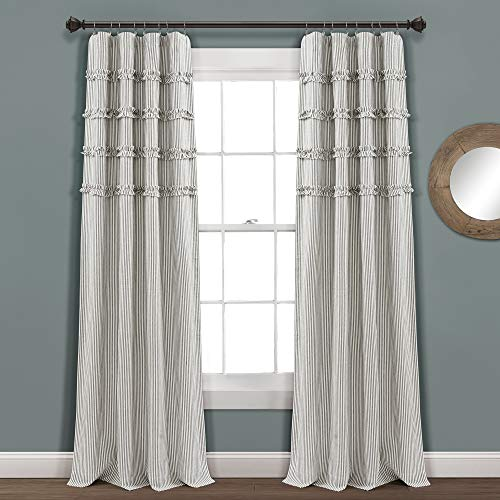 "Set of 2 84""x40"" Vintage Stripe Yarn Dyed Cotton Light Filtering Window Curtain Panels Gray/White - Lush Décor"