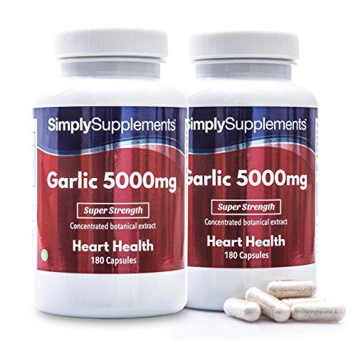 Garlic Capsules for Healthy Heart & Circulation | High Strength Formula Provides 5000mg per Capsule | Vegan & Vegetarian Friendly | 2 x 180 Capsule Tubs | Manufactured in The UK