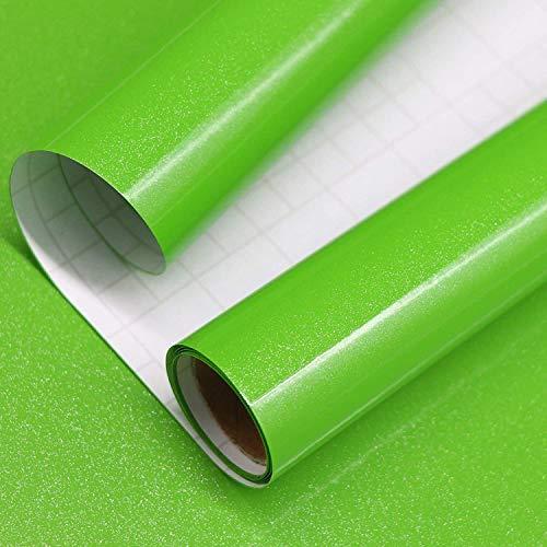 Papel Adhesivo para Muebles Verde 40cm X 3m Vinilo Pegatina Autoadhesivo Decoración De La Pared Gabinetes De Cocina Escritorio Cajón DIY Pegatina (Verde)