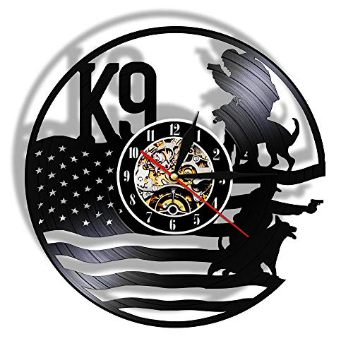 Reloj De Pared De Vinilo,K9 Police and Military Dog ​​3D Wall Clock Black Hanging Vinyl Record Wall Clock Personality Wall Art Decoration For Police Office-2