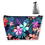 Mode Make-up Kosmetikkoffer Clutch Bag, Tropische Bunte Blumen Palme Blätter kosmetische Zugkoffer...