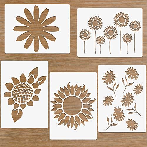 Sonnenblumen schablonen Gänseblümchen Vorlage für Wand Holzmalerei, 5 Stück A4 Wiederverwendbare Schablonen für Kissen Leinwand DIY Kunsthandwerk 21x29.7cm