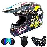 Casco Integral Completo Motocicletas de Motocross para Adultos Casco Protector DH Certificado por Dot Aplicar a MX ATV MTB Pit Bike Rally Racing con Gafas Máscaras Guantes(Sprint Blanco),58~59cm XL