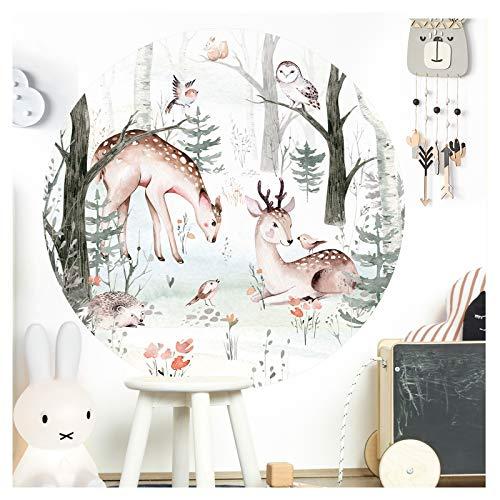 Little Deco Wandsticker Kinderzimmer Wandtattoo Waldtiere 120 cm rund Wanddeko Spielzimmer Sticker Kinder Wandaufkleber Baby Mädchen Junge Baum Reh Eule DL567