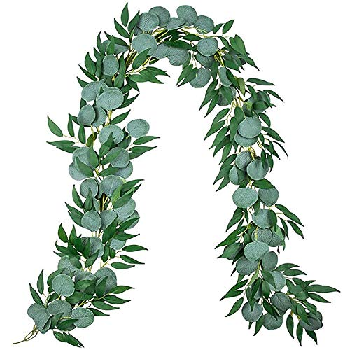 Basage 3Pcs 6.5 Feet Artificial Eucalyptus Leaves Garland with Willow Vines Twigs Leaves String