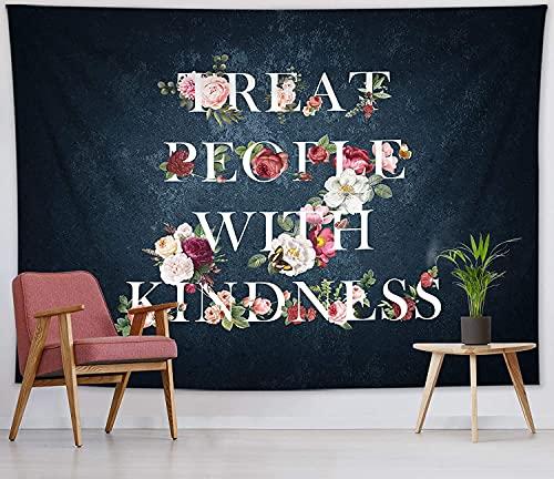 Alittle Tapa de tapicería estrellada negra Personas con amabilidad Tapicería de pared Tapicería y Palabras Tapices para sala de estar Dormitorio Dormitorio Pared Decor 59x51 pulgadas