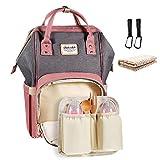 Baby Wickelrucksack mit 2 Pcs Kinderwagen-haken und 1 Pcs Wickelunterlage, Multifunktionale Wasserdichte Wickeltasche mit große Kapazität und warme Tasche, Babytasche für Reise (grau/pink)