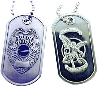 Police Shield St. Michael Brushed Steel Dog Tag
