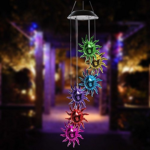 ISFORU LED Solar Sunflower Wind Chime, Changing Color Waterproof Solar Sunflower Wind Chimes Hanging Lantern Light for Home Party Bedroom Night Garden Decoration