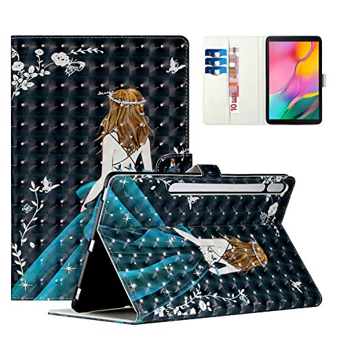 Uliking Case for Samsung Galaxy Tab S7 Plus 12.4-Inch (2020 Version) SM-T970/T975, 3D Painting PU Leather Skin Slim Fit Stand Magnetic Folio Smart Case, Auto Wake/Sleep, Girl