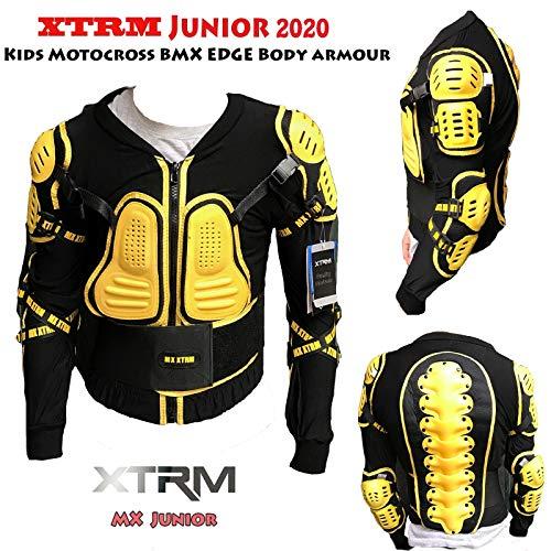 XTRM Edge Armatura Moto Bambini Protezione di Motocross Giacca off-Road Indumenti di Protezione Quad Pit Bike Sportivo Bambino Spina dorsali Protettori per Torace (Nero/Giallo,6)