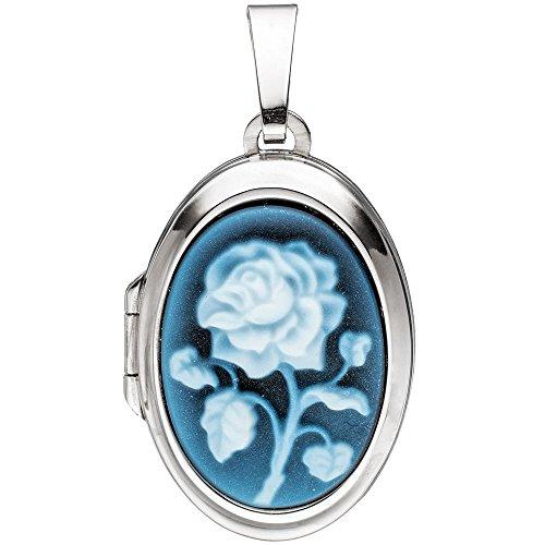 Medaillon 2 Fotos Anhänger zum Öffnen blaue Achat Gemme & Rose oval 925 Silber