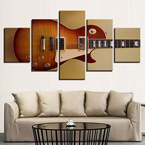 dxycfa Cinco Cuadros Decorativos Guitarra Musical 5 Cuadros Composición Impresion En Calidad Fotografica Decoración De Pared Lienzo