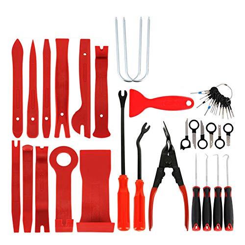 diaodiao Panel de radio de coche para puerta de coche, kit de palanca de reparación, herramienta de mano, color rojo, paquete de 38 unidades